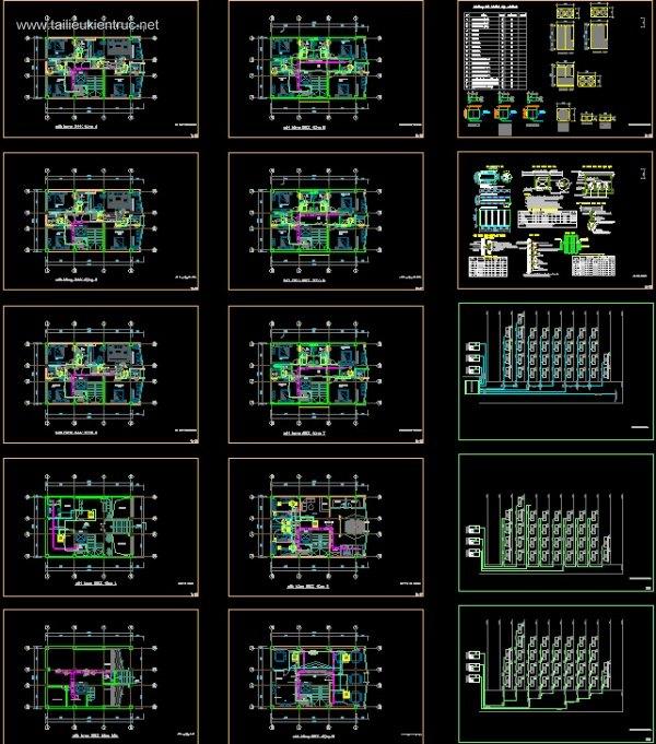 Bản vẽ chi tiết điều hòa không khí VRV khách sạn 9 tầng