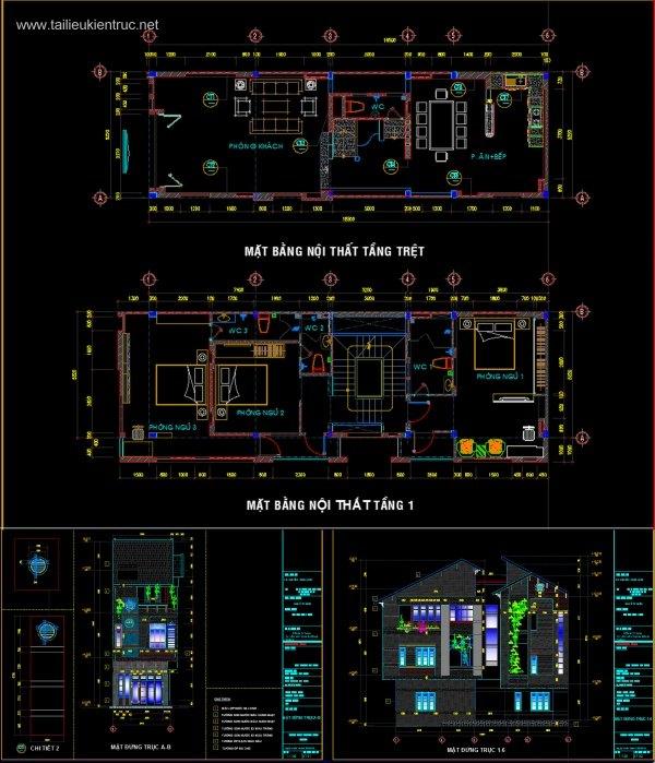 Hồ sơ thiết kế Nhà phố 2 tầng, diện tích 5,2x16,5m full Kiến trúc