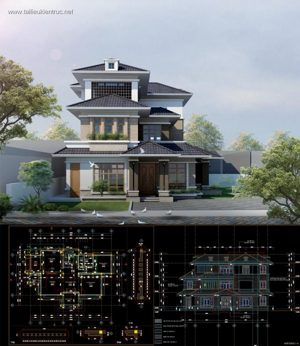 Hồ sơ thiết kế thi công biệt thự 3 tầng hiện đại diện tích 9,7x19,5m - 0061