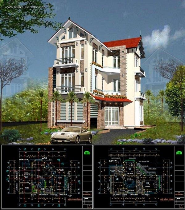 Hồ sơ thiết kế biệt thự 3 tầng mái thái diện tích 10,6x14,8m - 0062