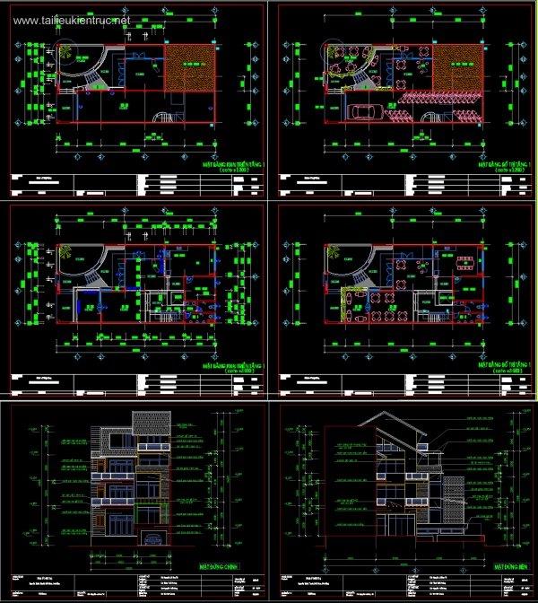Hồ sơ thiết kế Nhà phố 4 tầng, diện tích 10x20m full Kiến trúc 074