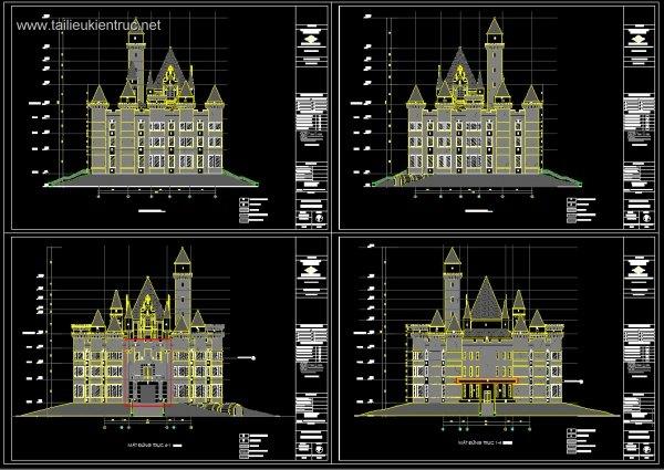 Bản vẽ Autocad hồ sơ thiết kế lâu đài rượu full kiến trúc