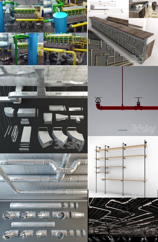 Thư viện 3d model tổng hợp các Đường ống kỹ thuật nổi trần, tường