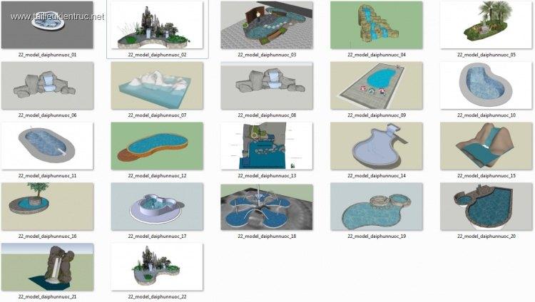 Tổng hợp 22 File Sketchup 3D Model Đài phun nước đẹp P3