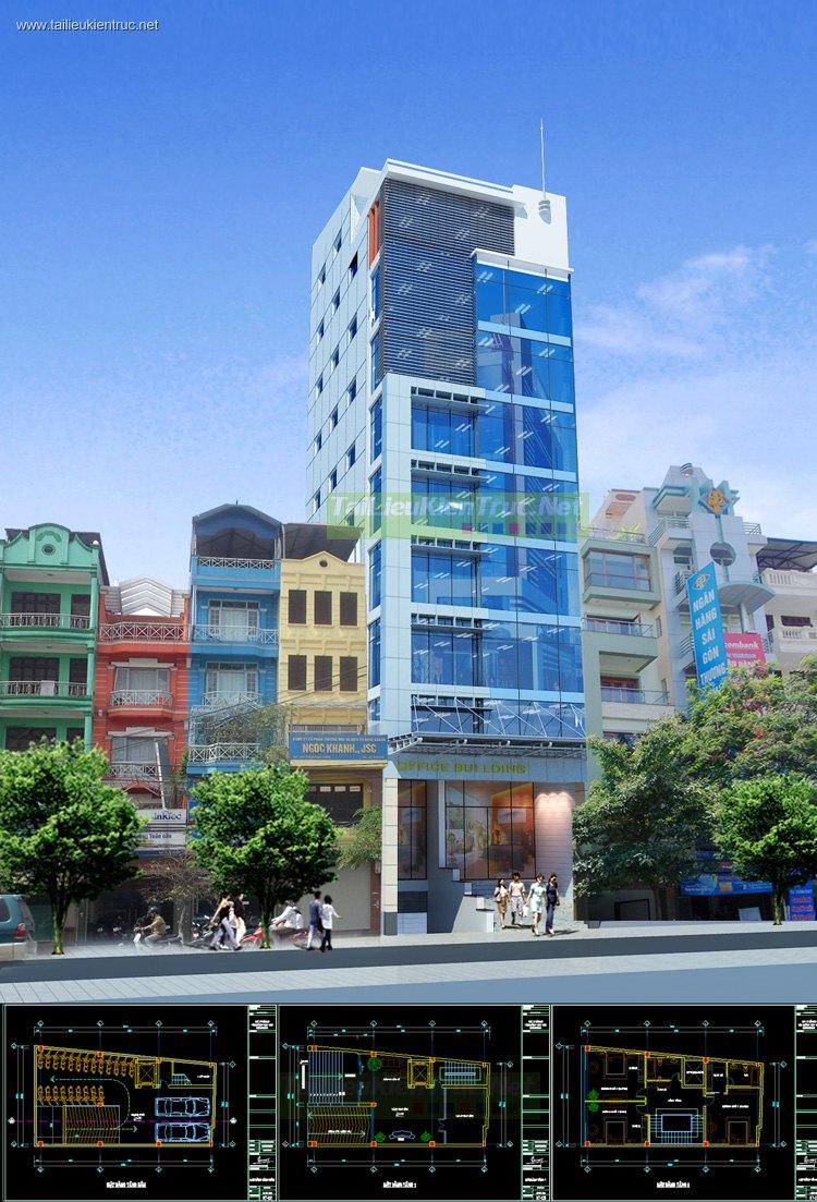 Hồ sơ thiết kế Nhà phố vừa ở và cho thuê 10 tầng diện tích 7,6x16,7m 075