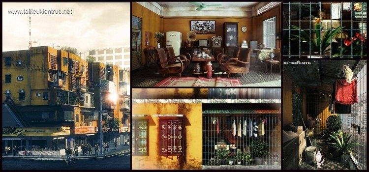 Sence Phòng khách 00018 - Toàn bộ phối cảnh về Hà Nội xưa
