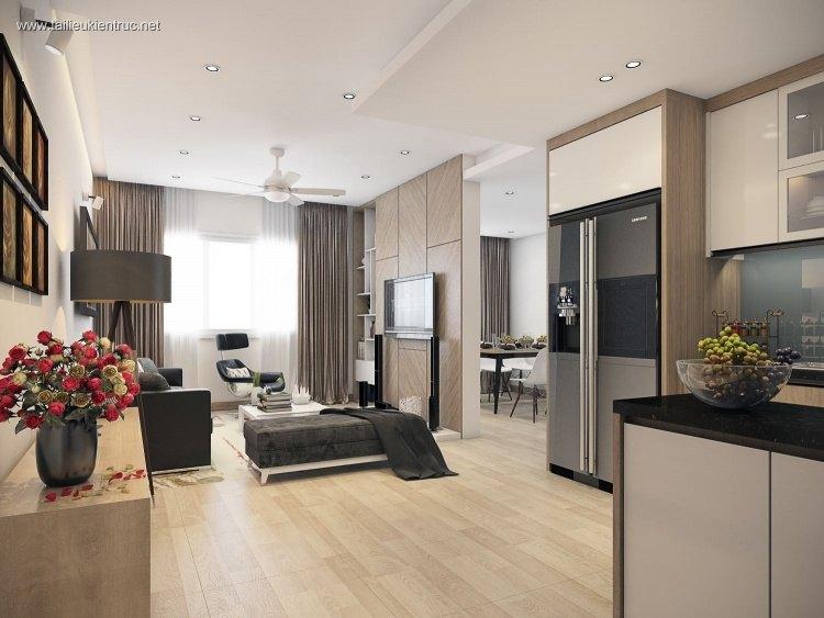 Phối cảnh nội thất phòng khách hiện đại Render 00021