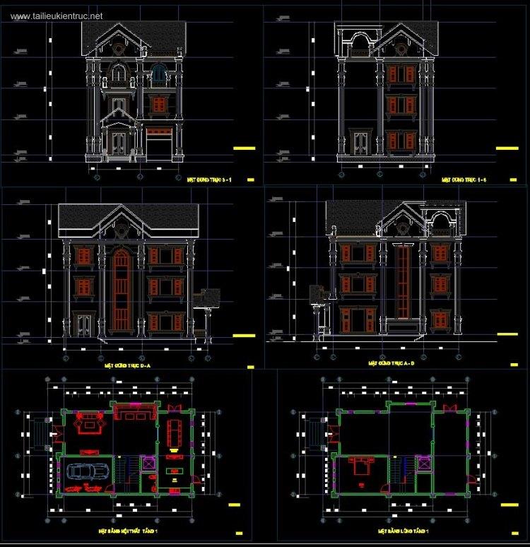 Hồ sơ thiết kế biệt thự 3 tầng Pháp diện tích 9x14m - 0063