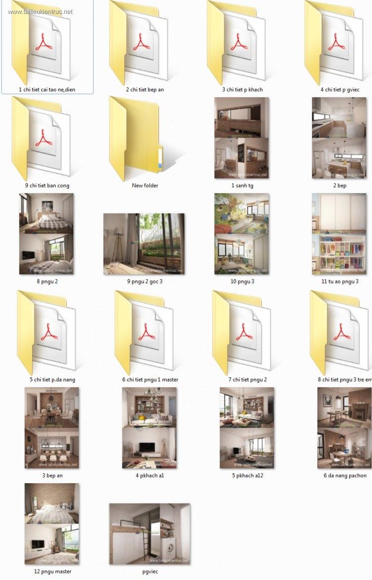 Hồ sơ thiết kế thi công nội thất chung cư Dolphin mẫu 007 full