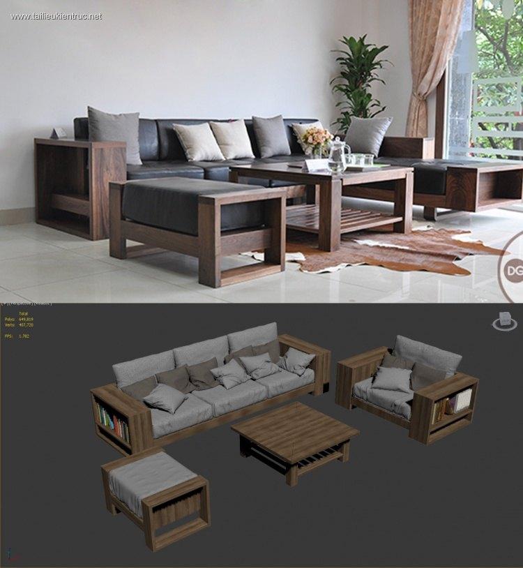 Model 3D bộ ghế Sofa gỗ Đẹp và mới nhất trong năm