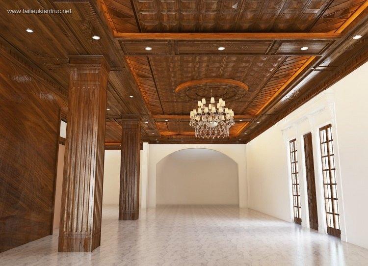 Phối cảnh nội thất 3D Trần gỗ phòng khách 00023