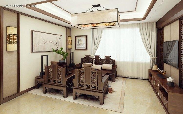 Phối cảnh nội thất 3D phòng khách với bộ bàn ghế Tràng kỷ 00024