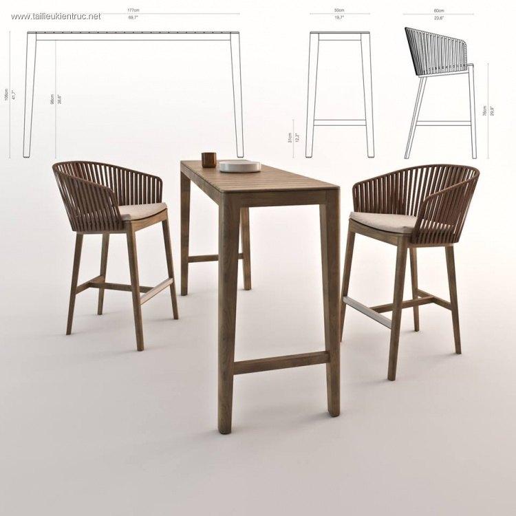Bộ bàn ghế Bar bằng gỗ phong cách thiết kế hiện đại đẹp