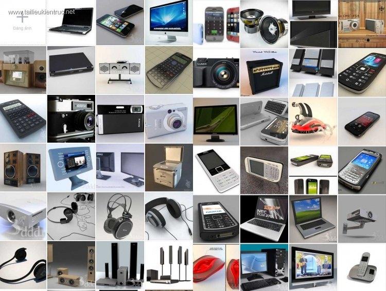 Thư viện 3d tổng hợp về các thiết bị công nghệ Điện thoại, máy tính, loa đài P1
