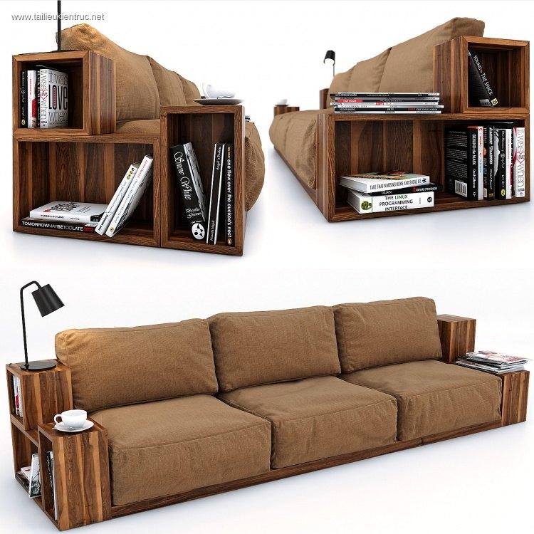 Model 3D bộ ghế Sofa gỗ óc chó hiện đại đẹp