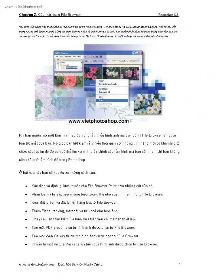 Giáo trình Photoshop - Chương 2: Cách sử dụng File Browser