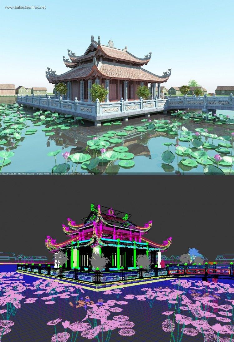 File 3Dsmax Phối cảnh Nhà Thờ Thủy Đình Full download