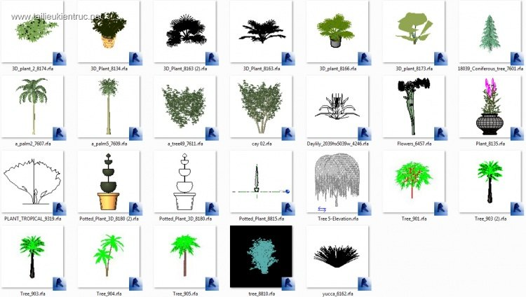 Thư viện Revit cây cỏ, hoa lá các loại full download