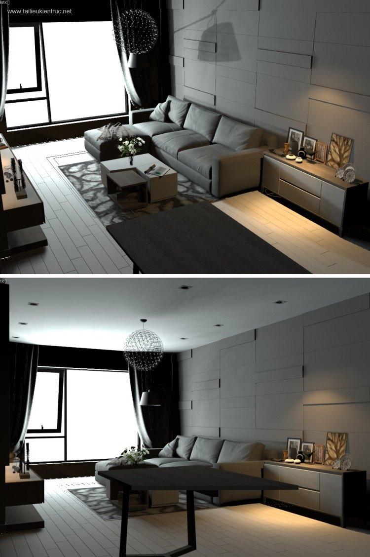 Phối cảnh nội thất 3D phòng khách hiện đại 00025
