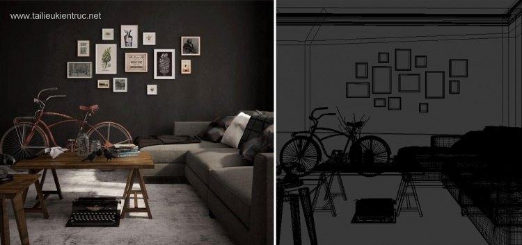Phối cảnh nội thất 3D phòng khách hiện đại 00026
