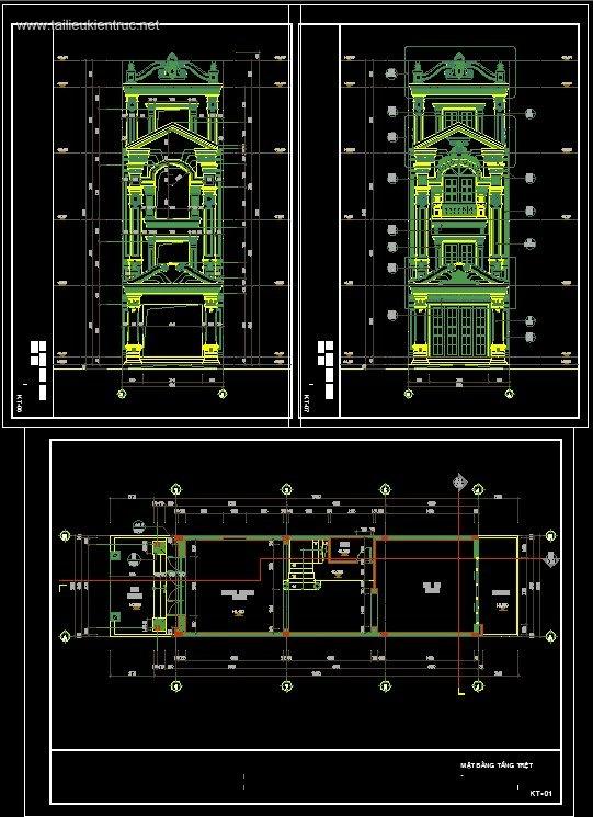 Hồ sơ thiết kế nhà phố 4 tầng Tân cổ điển diện tích 5x20m 079
