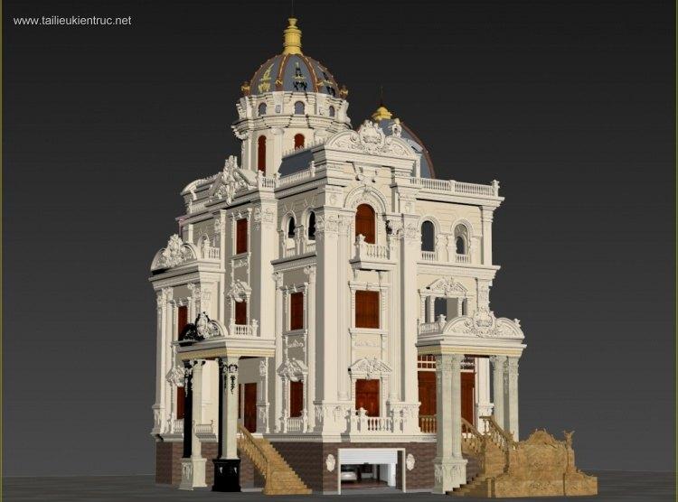 Phối cảnh 3d file Max lâu đài cổ điển 3 full