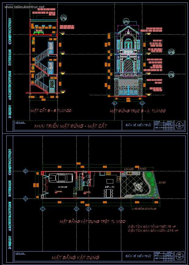 Hồ sơ thiết kế nhà phố 3 tầng diện tích 5x21m full kiến trúc, kết cấu, điện nước, dự toán 080