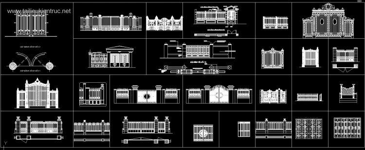 Thư viện autocad mẫu cổng sắt biệt thự hoa văn Tân cổ điển 2