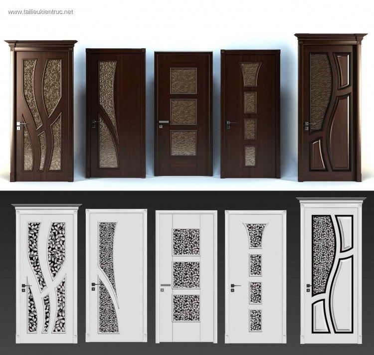 Tổng hợp 05 Model 3dsmax về Cửa gỗ kính đẹp P7