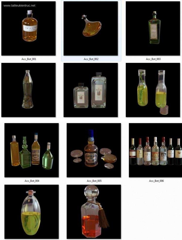 Thư viện 3dsmax 11 model tổng hợp các loại chai rượu full