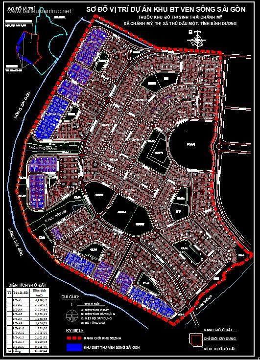 Bản vẽ Quy hoạch khu Biệt thự ven sông Sài Gòn - Chánh mỹ - Bình dương