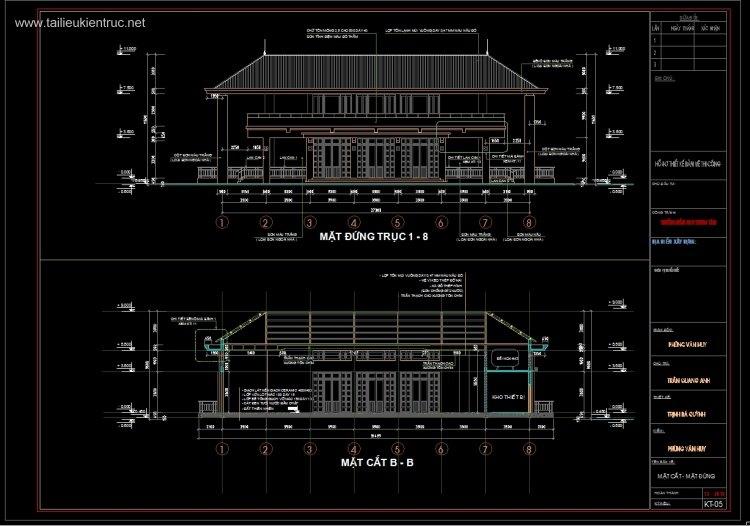 Hồ sơ thiết kế chi tiết Nhà ăn Trường mầm non 2 tầng M05
