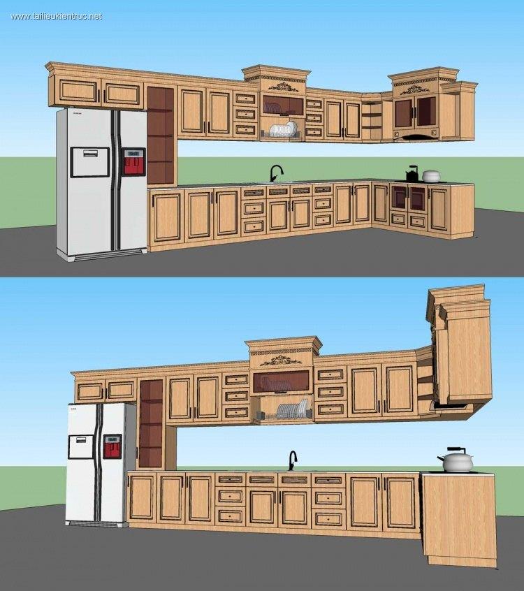 Thư viện Sketchup Tủ bếp cổ điển 02