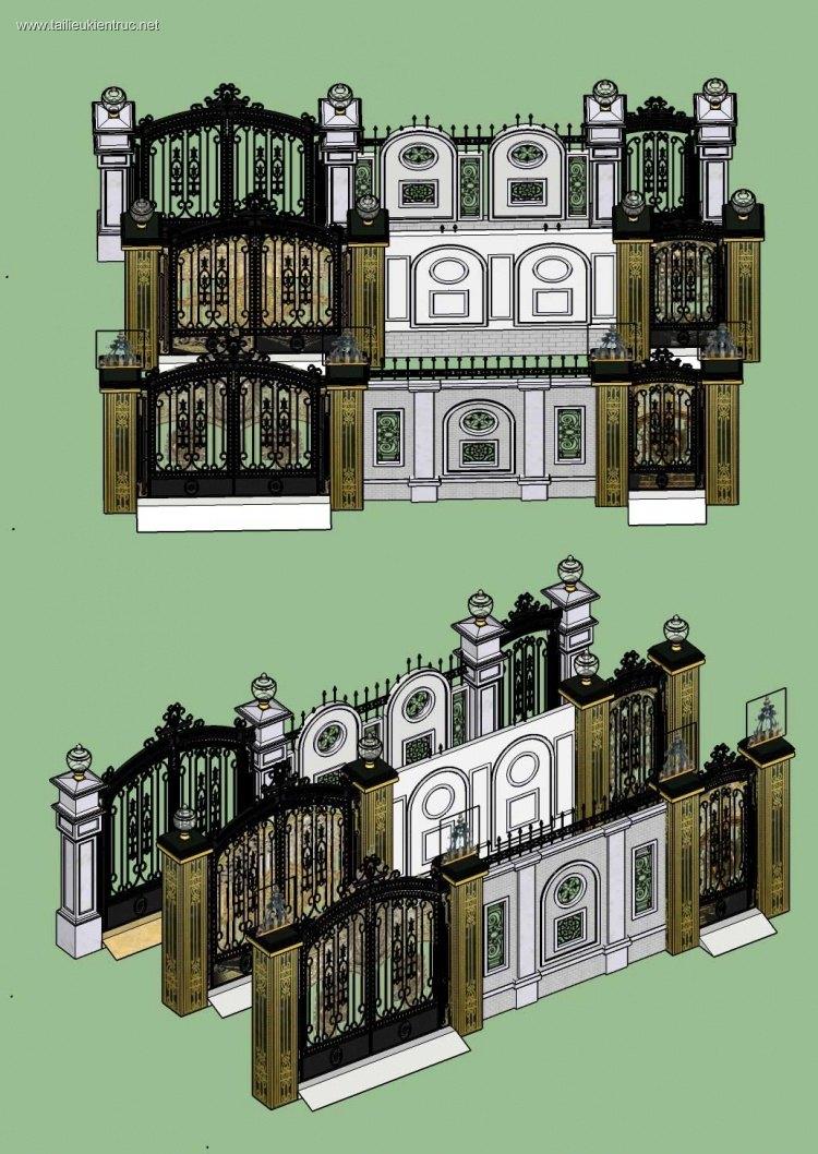 Thư viện Sketchup cổng tường rào tân cổ điển