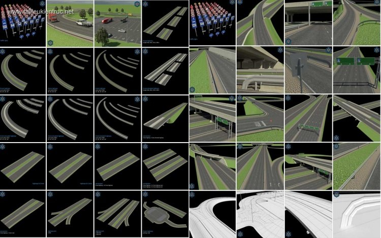 Tổng hợp 240 Model 3D Road Elements Pack