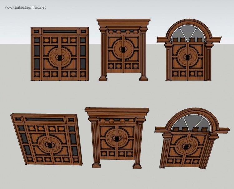 Thư viện Sketchup Cửa gỗ biệt thự tân cổ điển