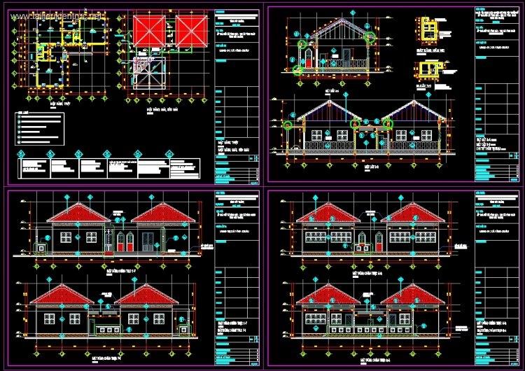 Hồ sơ thiết kế chi tiết Trường mầm non 1 tầng M06 full kiến trúc và kết cấu