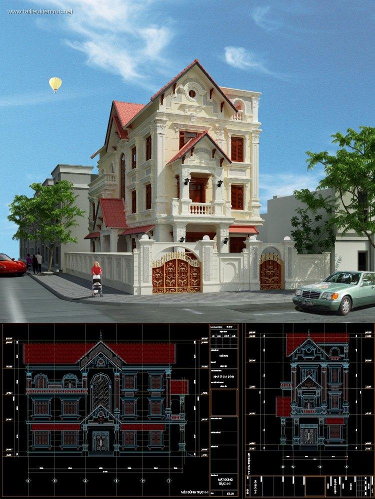 Hồ sơ thiết kế biệt thự pháp cổ 3 tầng diện tích 8,9x19,4m - 0068