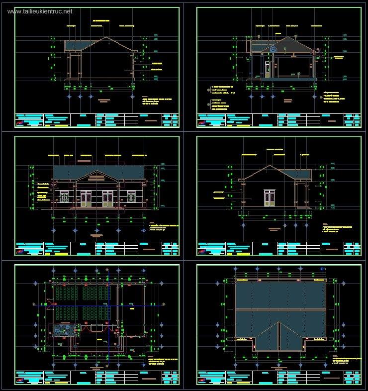 Hồ sơ thiết kế và thi công Nhà văn hóa Phường full Kiến trúc, kết cấu, điện nước