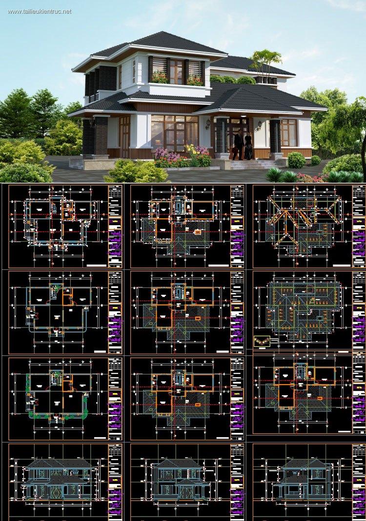 Hồ sơ thiết kế biệt thự hiện đại 2 tầng diện tích 8,7x13,2m - 0069 full kiến trúc, kết cấu