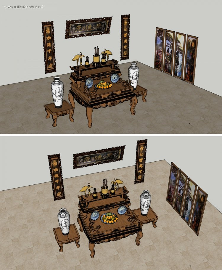 Thư viện sketchup Bộ bàn thờ gia tiên full