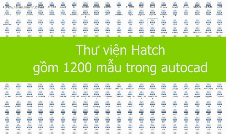 Thư viện Hatch gồm 1200 mẫu trong autocad