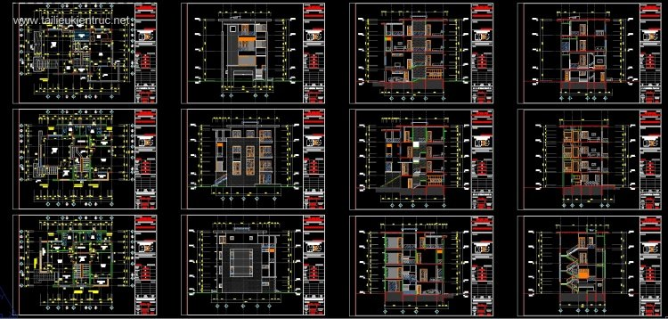 Hồ sơ thiết kế biệt thự hiện đại 3 tầng diện tích 10x13,3m - 0071 full kiến trúc, kết cấu, điện nước