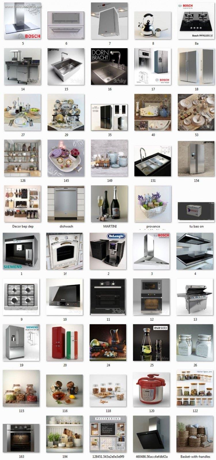 Thư viện 3dsmax tổng hợp 50 Model về đồ thiết bị Bếp bàn ăn P7