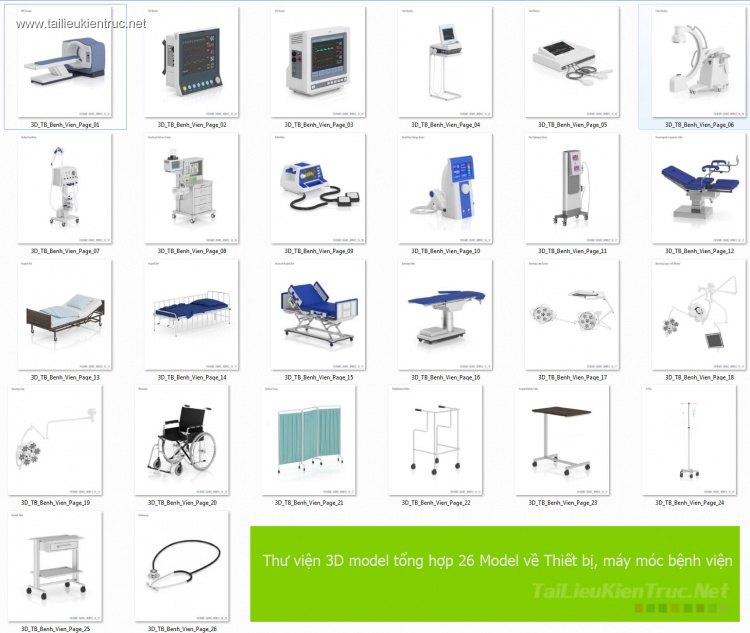 Thư viện 3D model tổng hợp 26 Model về Thiết bị, máy móc bệnh viện