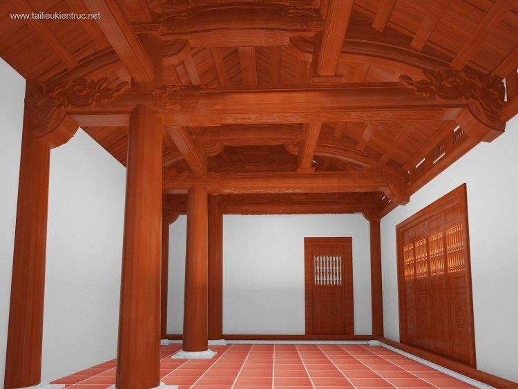 Phối cảnh 3d max nội thất Nhà gỗ Việt Nam Download