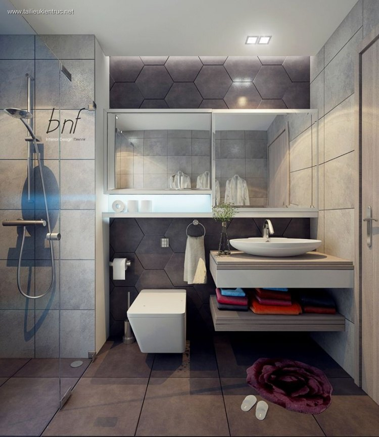 Sence Phòng tắm WC 02 - Thiết kế nội thất phòng tắm + Wc Hiện đại