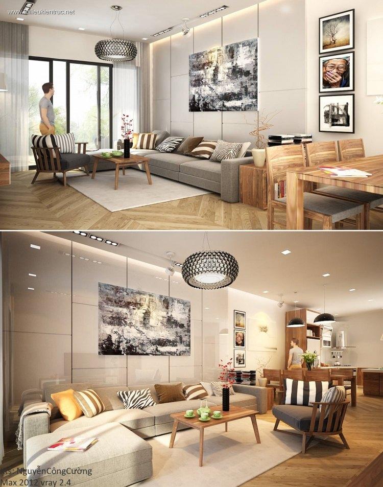 Phối cảnh nội thất 3D phòng khách, bếp chung cư hiện đại 00029