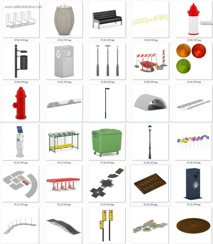Thư viện 3d tổng hợp 60 Model về các loại thiết bị Giao thông, đường phố