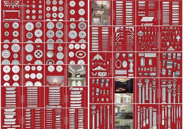 Tổng hợp thư viện 3dsmax Tân cổ điển về chi tiết Phào, trần, cột
